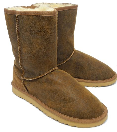 mens real sheepskin suede leather boots chestnut brown
