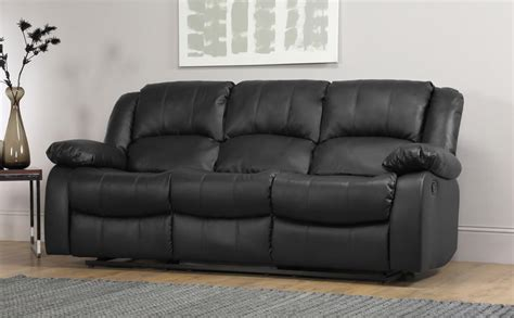 black leather 3 seater recliner dakota 3 seater leather recliner sofa black only 163 549 99