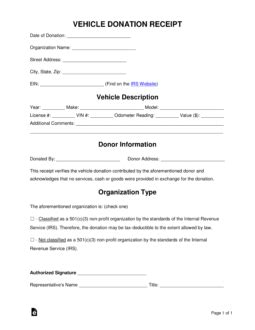 Free Vehicle Donation Receipt Template - Sample - PDF