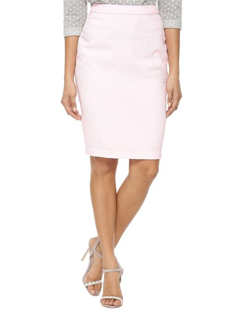 buy koovs jaqcuard pencil skirt for s pink