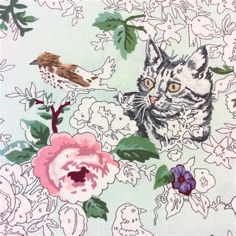 moda paint by number cat watercolor bird nature flower cotton quilt fabric moda mo102