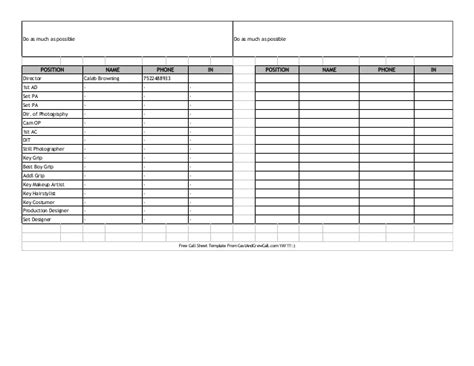 hotel up call template call sheet 1