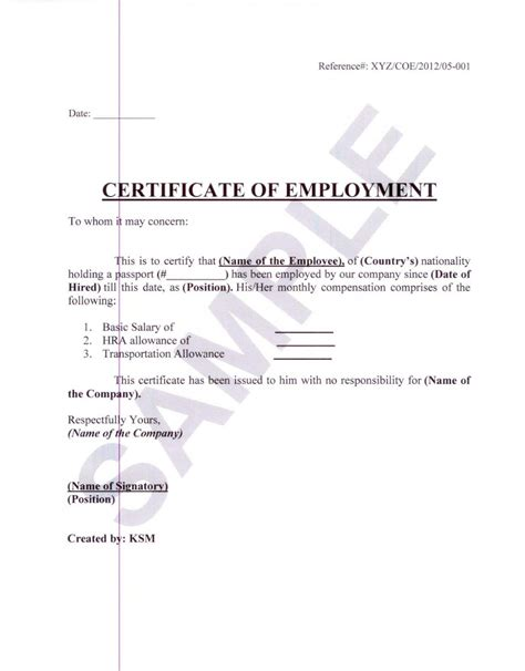 certification letter of previous employment formal sle of certificate of employment with white