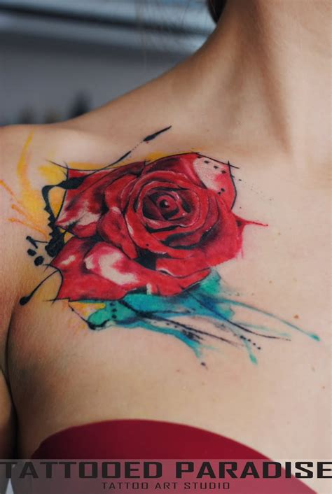 rose tattoos on front shoulder 46 beautiful watercolor tattoos
