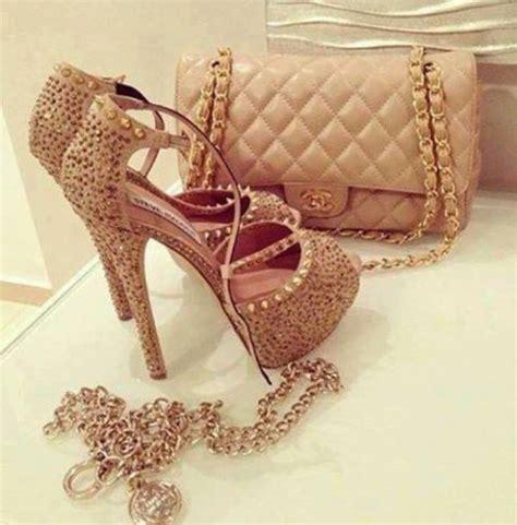 chanel high heels shoes gold high heels glitter spikes
