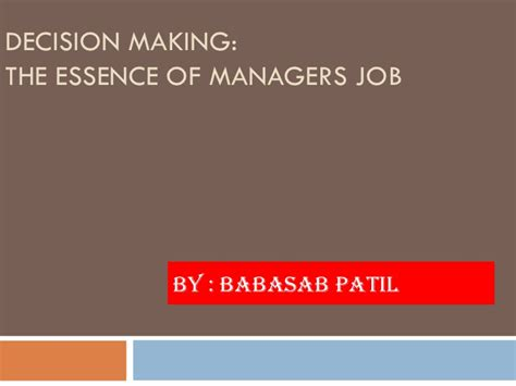 Mba Career Management Ppt by Decision Ppt Bec Bagalkot Mba