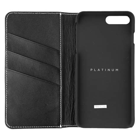 platinum leather folio wallet case  apple iphone