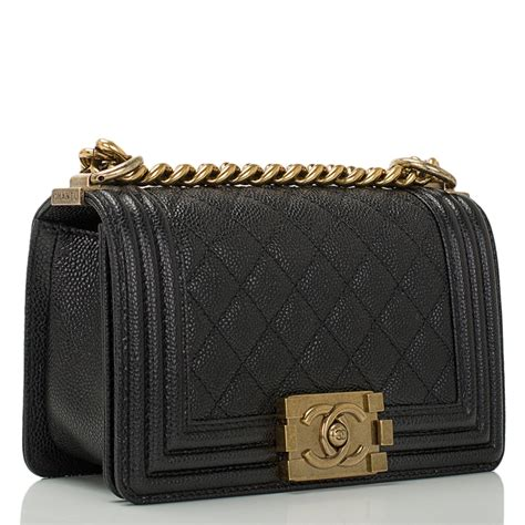 Boy In Black Silver Hardware Caviar Sale chanel small boy quilted caviar bag in black with gold hardware world s best
