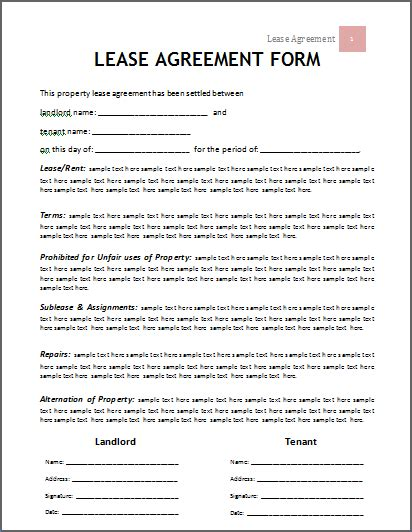 lease template word lease agreement template company documents