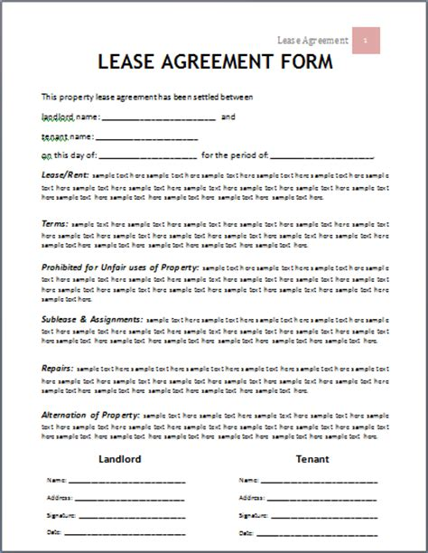 renters agreement template ms word lease agreement form template word document