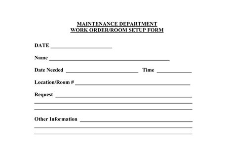 maintenance work order template free best photos of maintenance work order templates excel