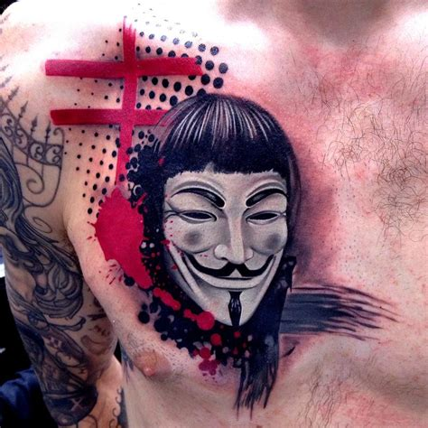 guy fawkes tattoo trash polka style v for vendetta fawkes mask