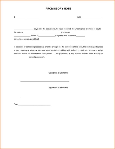 Simple Promissory Note Letter Document Sle Vatansun Promise To Pay Note Template