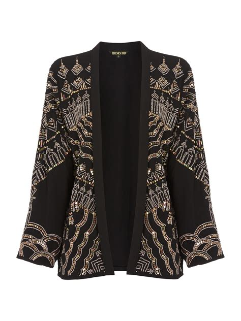 beaded blazer biba beaded relaxed jacket in black parchment lyst