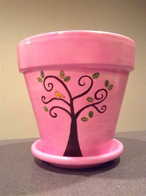 design of flower pot items similar to pink hand painted flowerpot with trees
