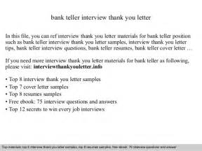 Thank You Letter After Interview Bank Teller Position Bank Teller