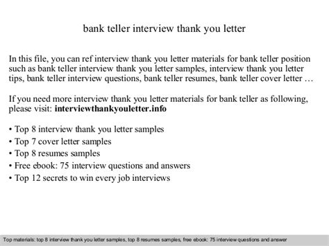 Bank Teller Thank You Letter Sles Bank Teller