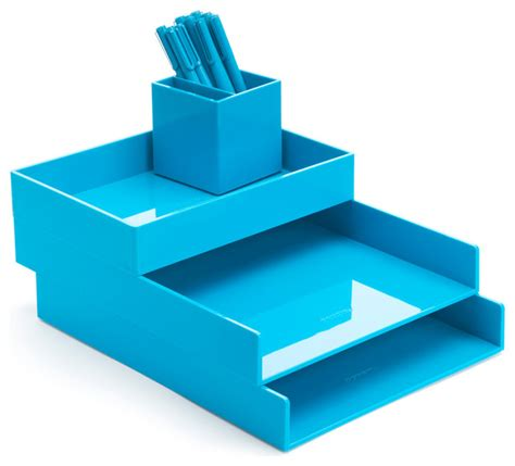Blue Desk Accessories Desktop Set Pool Blue Contemporary Desk Accessories