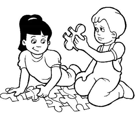 two kids playing puzzle while waiting to go back to school