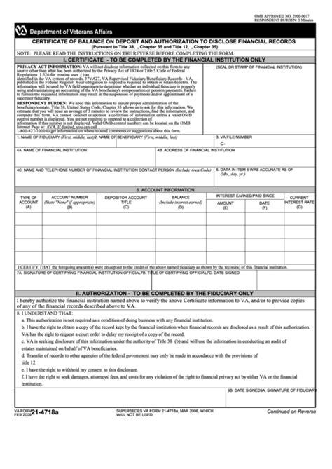 Fillable Va Form 21-4718a - Veterans Benefits