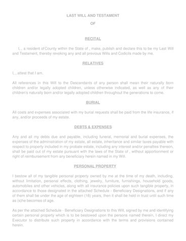 Last Will And Testament Template Free Last Will Pdf Formswift Last Will And Testament Free Template Washington State