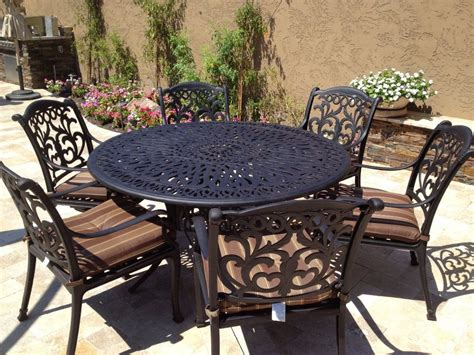 Outdoor Aluminum Patio Furniture by Cast Aluminum Outdoor Patio Furniture Flamingo 7pc Dining