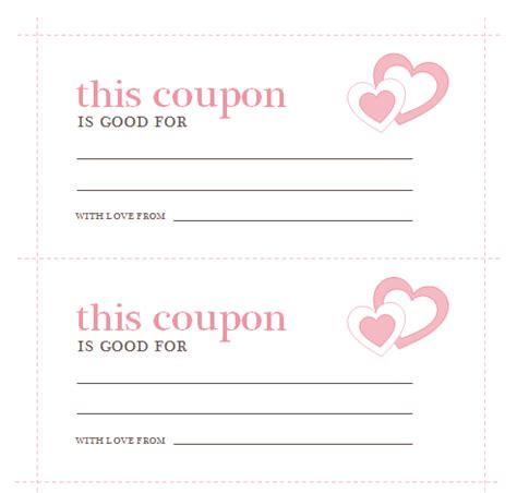 Coupon Cards Template Word by S Day Coupons Template