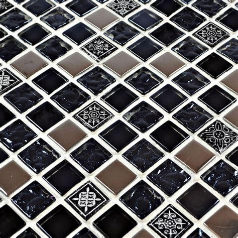 black glass backsplash black glass tile silver glass mosaic tiles crystal backsplash