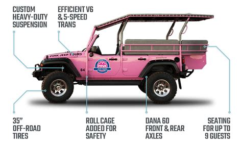 jeep wrangler custom pink tour vehicles custom built for road pink adventure