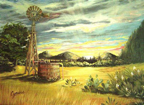 country paintings hill country windmill by cynara shelton