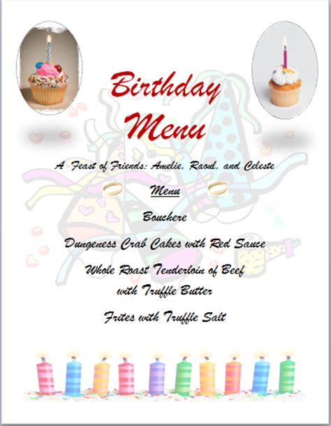 free word templates birthday party menu template