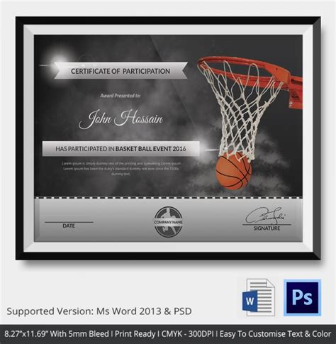 Basketball Certificates Templates by Basketball Certificate Template 14 Free Word Pdf Psd