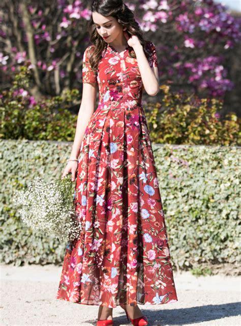 49383 Blouse Xl chiffon floral print v neck waist maxi dress ezpopsy