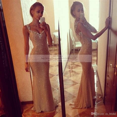 Mermaid Blingbling Size S Dan M bling beaded sequin corset mermaid gold evening dresses real sle white prom gowns new