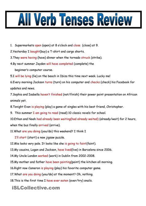 verb tenses worksheet for everyone kidz activities