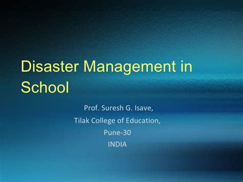 Mba In Disaster Management Syllabus by Disaster Management