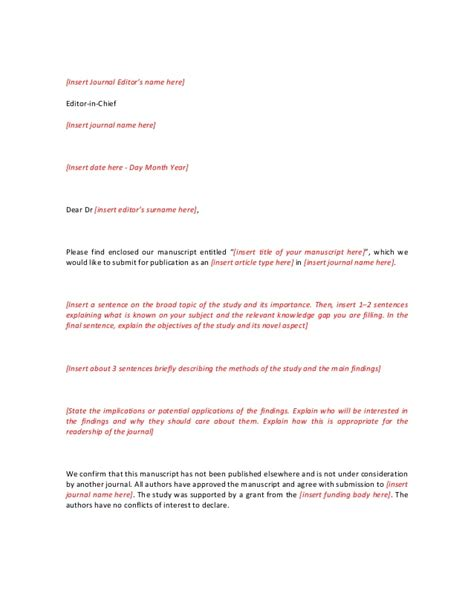 cover letter template short amp extebded for journal editor