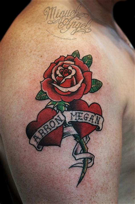name tattoo with rose school and two hearths and names custom