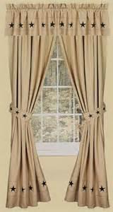 Danville star 2 curtain window panels primitive country nutmeg creme