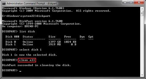 diskpart format ssd windows 7 disk clean and clean all with diskpart command windows