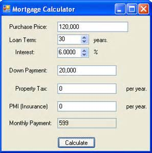 home loan calculator mortgage calculator in c and net