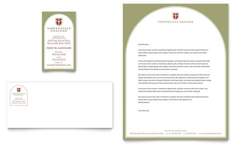 College Letterhead Format In Word College Business Card Letterhead Template Word Publisher