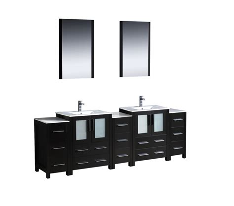 84 inch sink bathroom vanity with side cabinets - 84 Inch Bathroom Vanity
