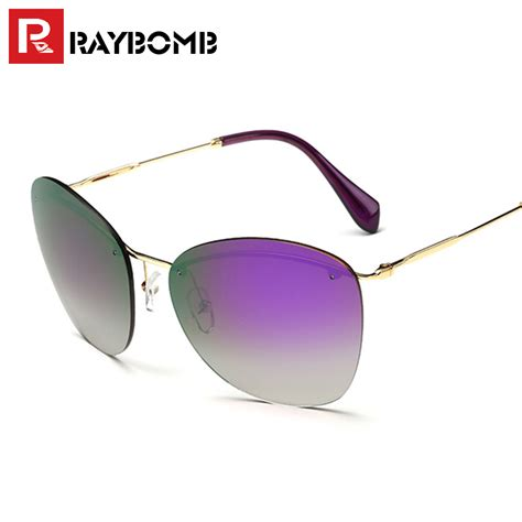9865 New Luxy Pink Limited raybomb 2016 new stylish rimless colorful gradient sunglasses pink coating lens luxury