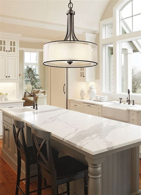 Kitchen Drum Light Collection 3 Light 20 Quot Mission Bronze Pendant With Organza Drum Shade 42385miz