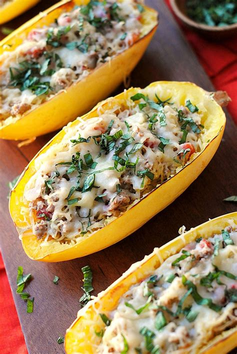 rock the zucchini boat spaghetti squash boats with spicy sausage eat yourself