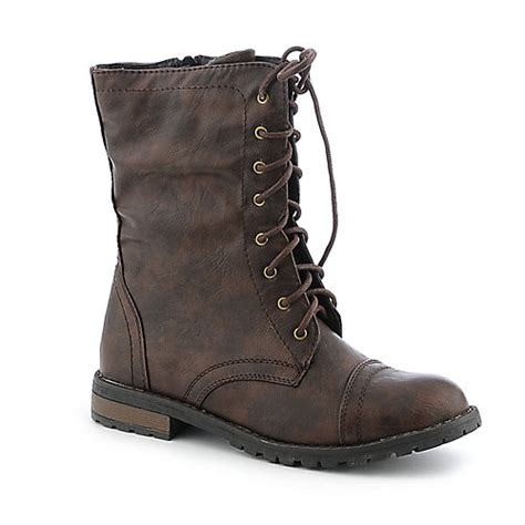 buy shiekh womens pk 04 brown mid calf combat boots