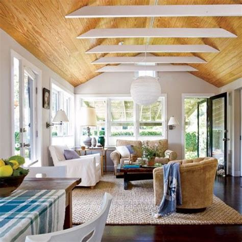15 Easy And Inexpensive Room Upgrades Sun Wood Ceilings Cheap Ceiling Ideas Living Room
