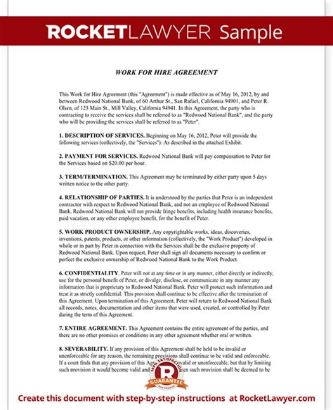 Working Agreement Letter Template Work For Hire Agreement Template Free Work For Hire Contract With Sle
