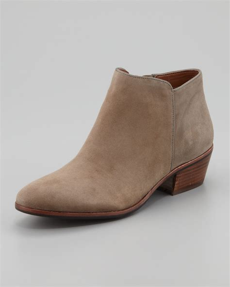 brown suede boots womens lyst sam edelman womens petty suede ankle boot in brown